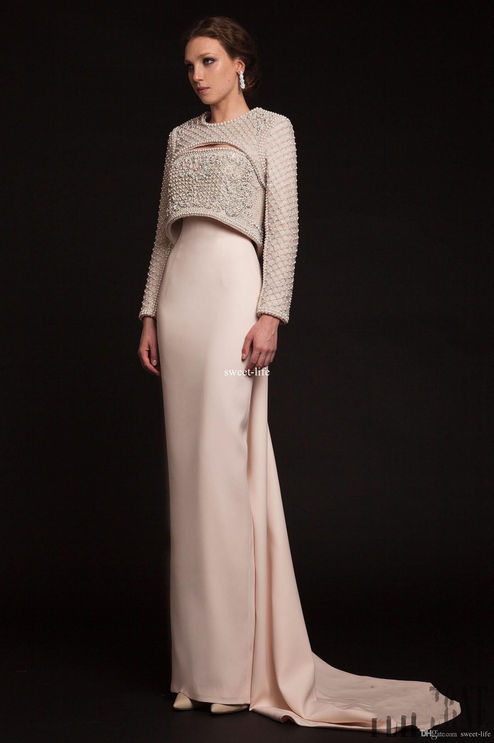 Großhandel Krikor Jabotian 11 Luxus Lange Perlen Abendkleider Elegante  Jacke Mit Langen Ärmeln Perlen Kragen Schlüsselloch Hals Neueste Promi Prom