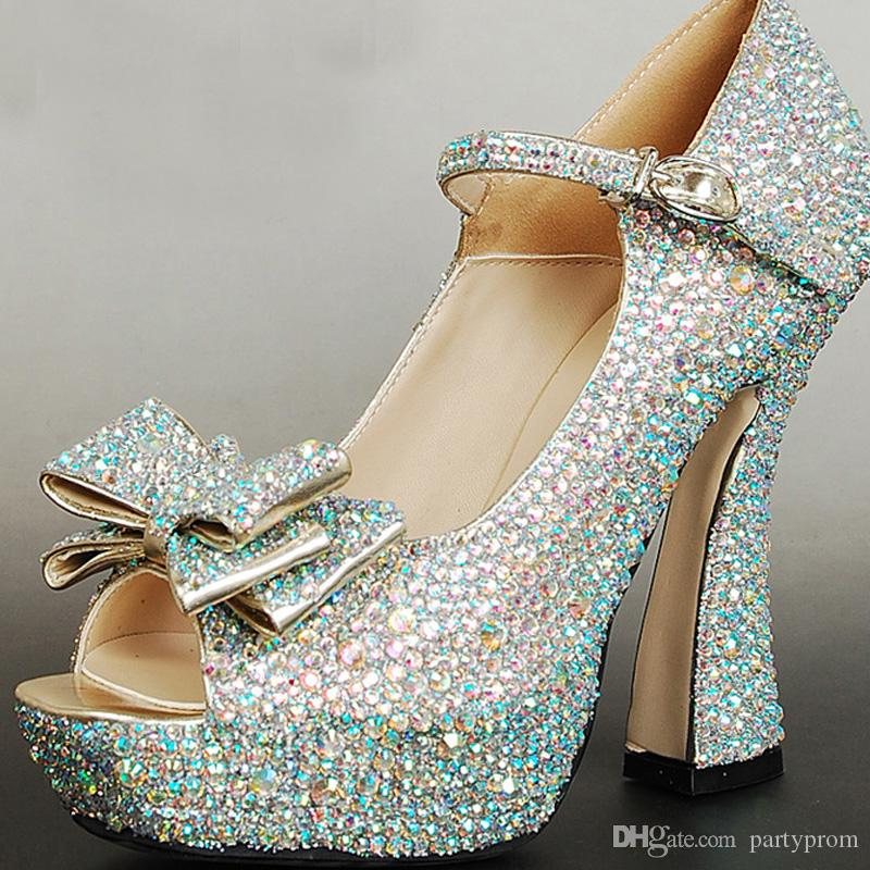 Sparkling AB Crystal Prom Party Shoes Chunky Heel Bridal Wedding Shoes Open Toe Buckle Strap Women Fashion Platforms Pumps