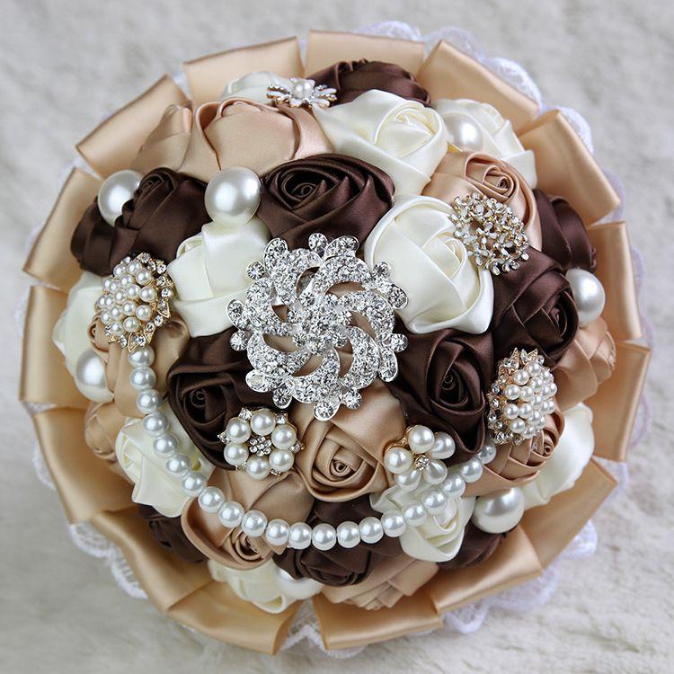 Broches De Cristal De luxo Bridal Wedding Bouquet Rose Pérolas Do Laço Diamante Noiva Segurando Bouquets De Flores De Casamento Broche Flor Favores