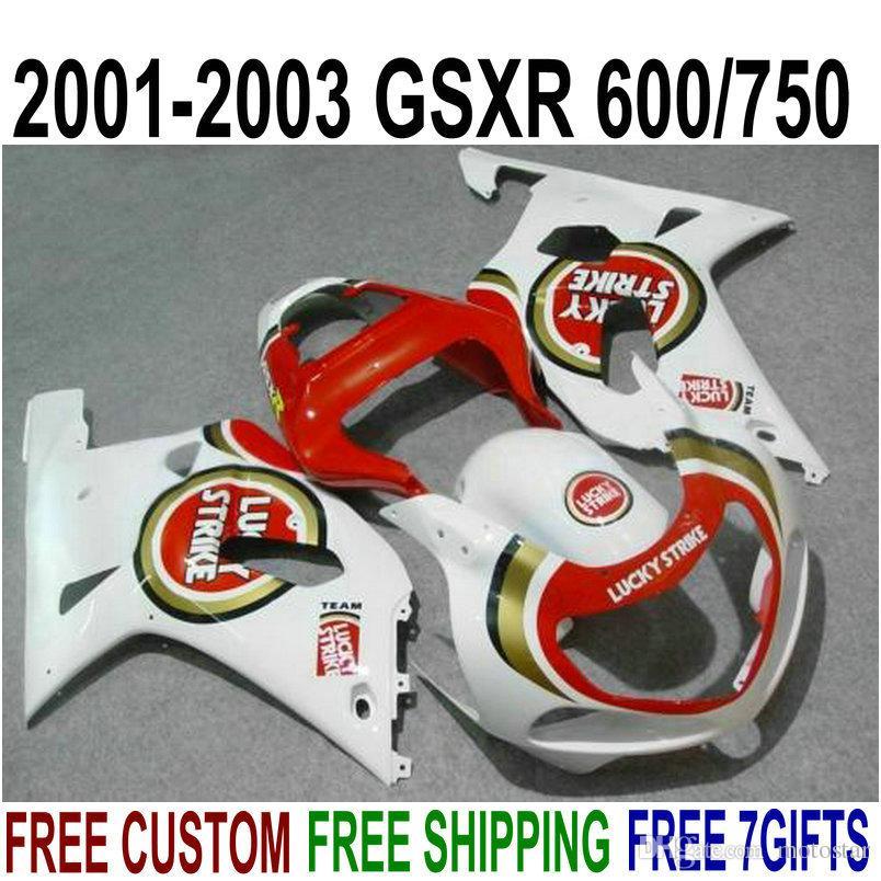 مجموعة أدوات التشطيب ABS للدراجات النارية لـ SUZUKI GSXR600 GSXR750 2001 2002 2003 مجموعة الخيوط LUCKY STRIKE باللون الأحمر والأزرق 2002 2002 2003