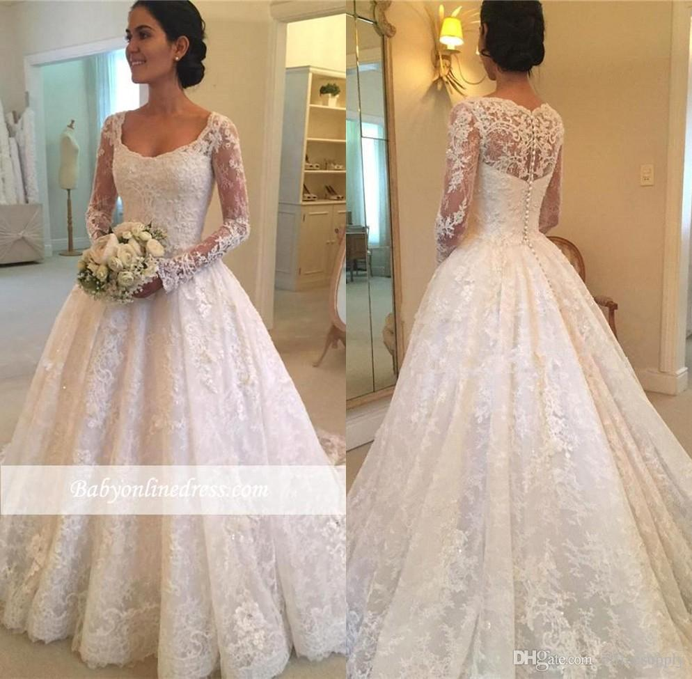 Discount 2018 Vintage Country Lace Wedding Dresses With Long Sleeves Illusion Bodice Scoop Neck A Line Applique Cheap Boho Bridal Gowns Wedding Dress