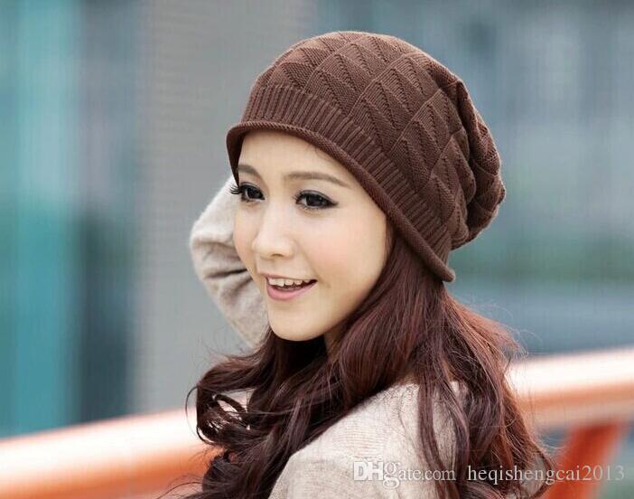 2016 vente chaude Hommes Femmes La laine Baotou cap Tricot triangle triangulaire treillis Avec épais chapeau chaud