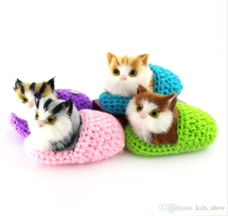 Cute Shoe Kittens Cats Plush Kids Toys for Children Christmas Decoration Gifts