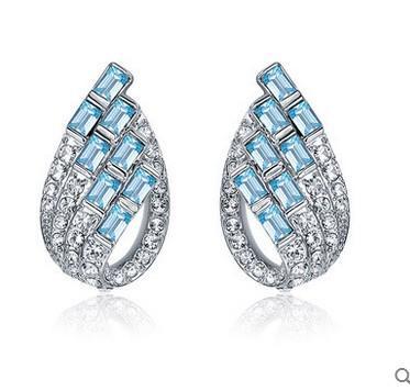 azul diamante velho prata l gota brincos da senhora (yt-jd)