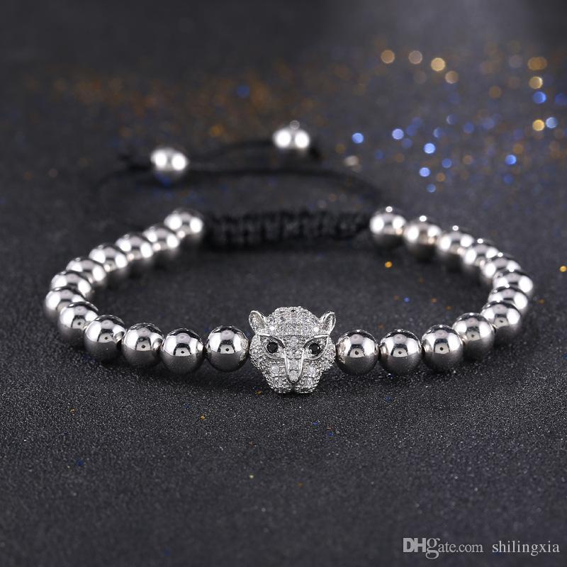 Women Men Gold Color Full Crystal Leopard Head Charm Braided Mala Bracelet Macrame Knitted Weave Copper Bead Bracelet Jewelry