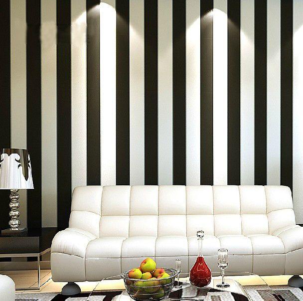 Custom made Modern Brief Vertical Black And White Stripe Wall Mural for Living Room