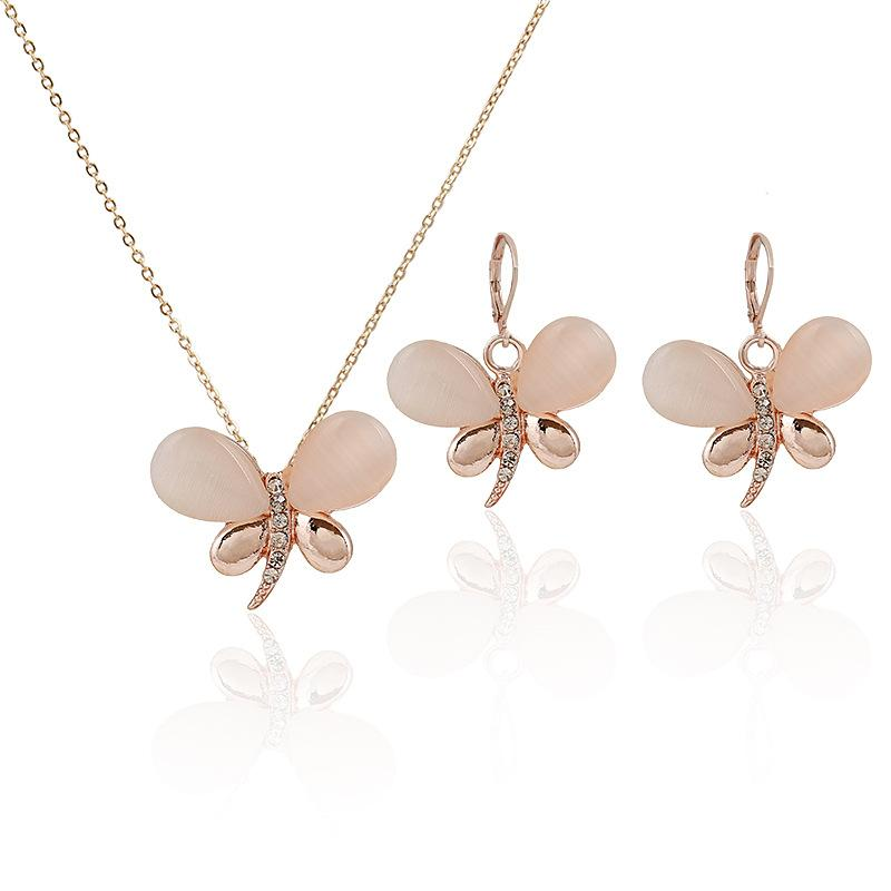 Happy Birthday Gift Fashion Butterfly Rose Gold Cats-Eys Stone ...
