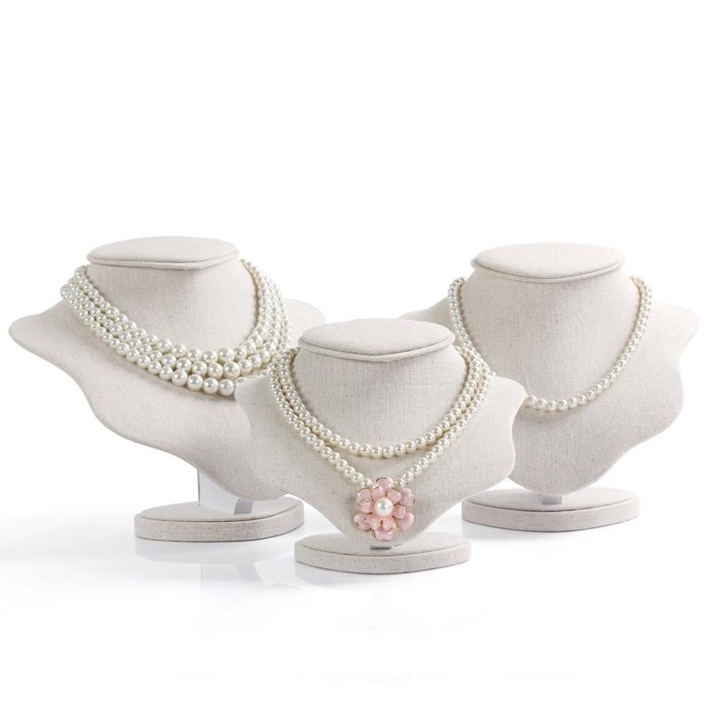 Di alta qualità bella ciondolo in lino collana display stand protrait design speciale supporto gioielli busto puntelli manichino