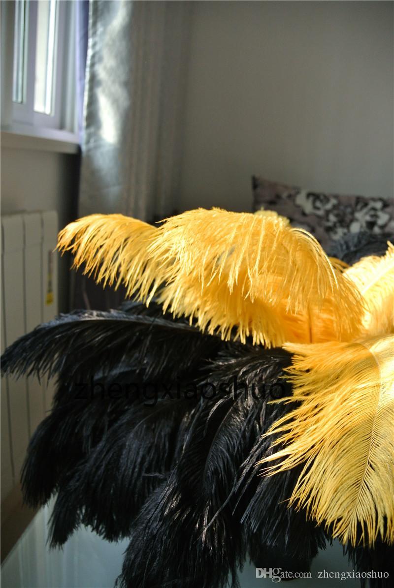 100 sztuk / partia 14-16inch (35-40 cm) Złoto i czarne Pióra strusie Plumes Centrum ślubne Wedding Decor Decor