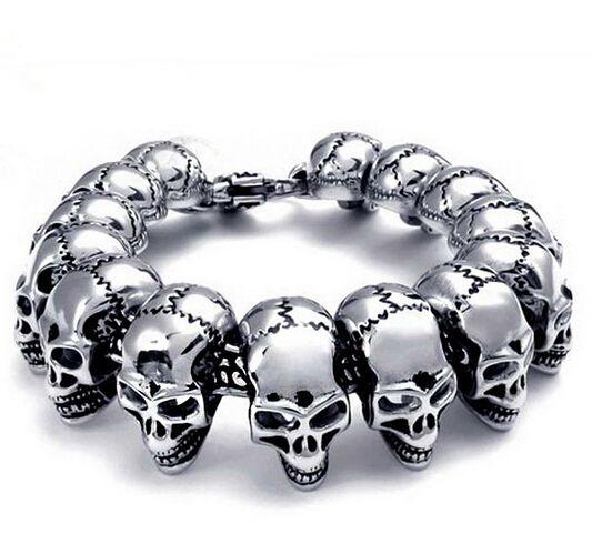 Punk Serin Erkekler Paslanmaz Çelik Biker Kafatası İskelet Bilezik Erkekler için Titanyum Çelik Bileklik Moda Takı
