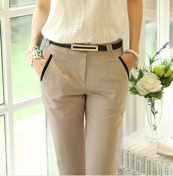super cute hot sale online great variety models 2019 Hot!Free Belt Office Ladies Work Trousers Elegant Women Plus Size  Black Khaki Business Pencil Pants Female High Quality Outwear From ...
