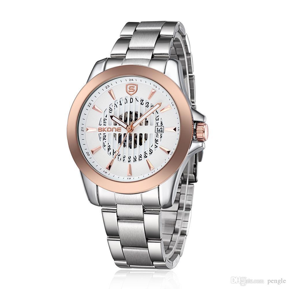 Горячие Продажи Новая Мода Скелет Кварцевые Часы Роскошные Часы Из Нержавеющей Стали Ремешок Часы Для Мужчин