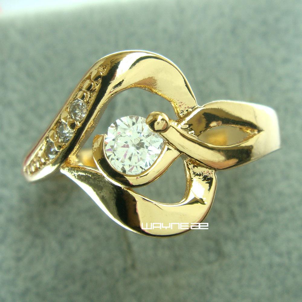 Новая Мода Женщины 18 К Золото Заполненные Свадебные Кристалл Кольцо Подарок Размер Q. R268