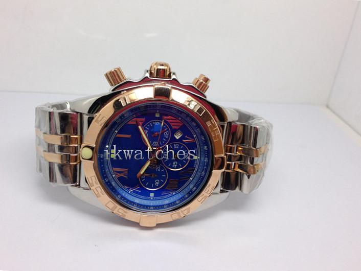스테인레스 스틸 밴드 석영 스톱워치 손목 시계 028 남자 파란색 얼굴 최고 품질 남성 시계 새로운 패션 시계