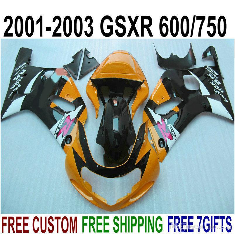 Carenature moto ABS per SUZUKI GSX-R600 GSX-R750 Kit carenature K1 arancio nero 2001-2003 GSXR600 / 750 01 02 03 SK7