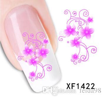 Nail Art переноса воды цветок лук дизайн ногтей наклейки наклейки DIY французский маникюр фольги штамповка инструменты Xf1422-1441 JIA050