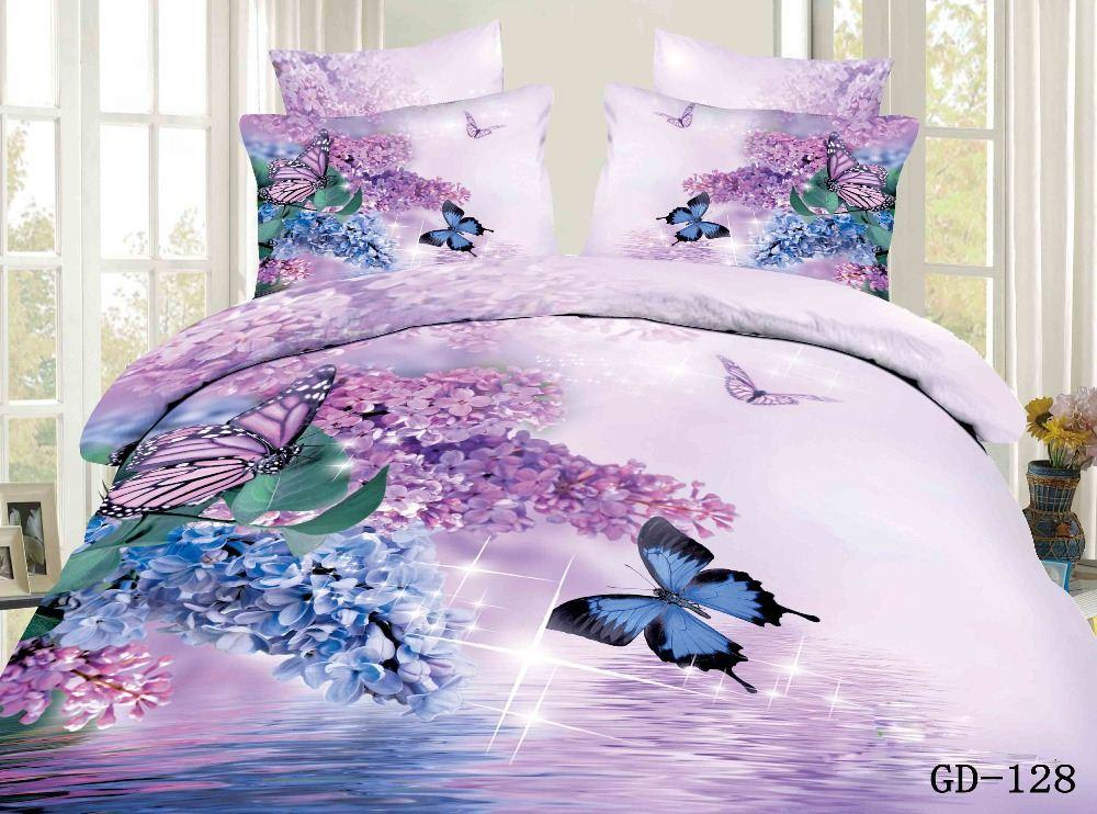 Copripiumino Matrimoniale Con Farfalle.Acquista 3d Rosa Blu Farfalla Floreale California Re Bedding Set