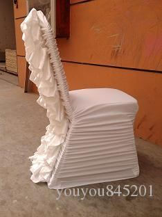 Sample Order Link: 1PCS White Ruffled Style Spandex Chair Cover With Crush Satin Flower In The Back