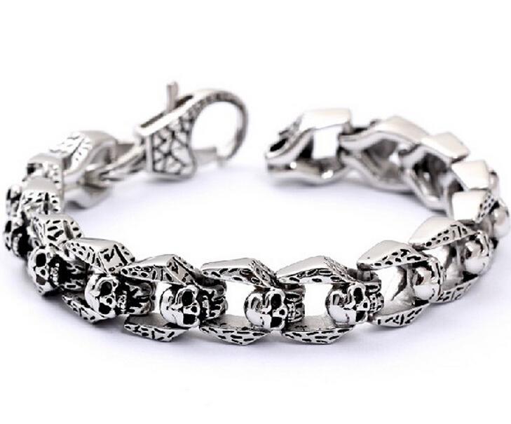 Moda retro personalidade punk esqueleto crânio pulseira de aço inoxidável jóias das mulheres dos homens de aço de titânio pulseira de motociclista