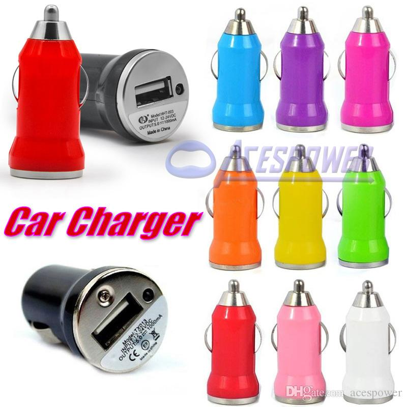 Colorful Car Chargers Bullet Mini USB Iphone USB Adapter Cigarette Lighter For Iphone XS Max For Samsung Note 10 Ipad Pro EGO Charger