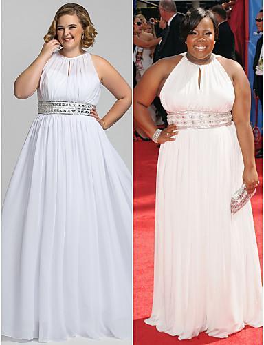 Cheap Plus Size A Line Formal Chiffon White Evening Prom Dresses ...