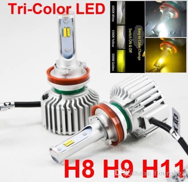 1 Satz H8 H9 H11 60W 8000LM Dreifarbige LED-Scheinwerfer-Konvertierungs-CSP-Chips Golden Yellow White 3000K 4300K 6000K 3 Für 1 Birnen Driving Fog Rain