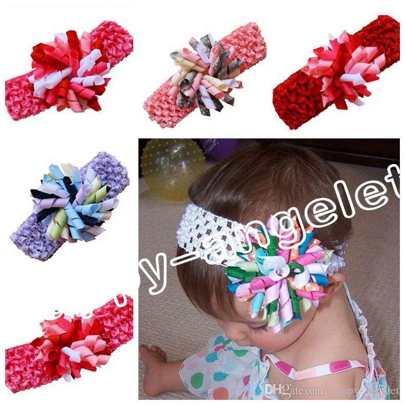 12pcs Children's waffle Crochet headband bows with 3.5 inch korker bow clip corker Hair clip hair barrettes girl korker hair bands PD011