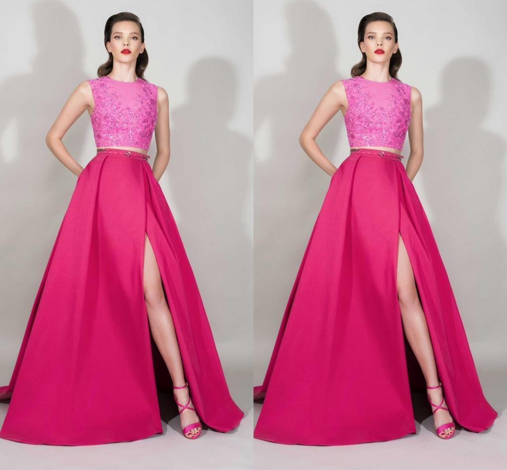 Zuhair Murad 2016 Fuchsia Lace And Satin Two Pieces Evening Dresses Sexy Split Side With Sequin Prom Gowns Custom Made China EN121410
