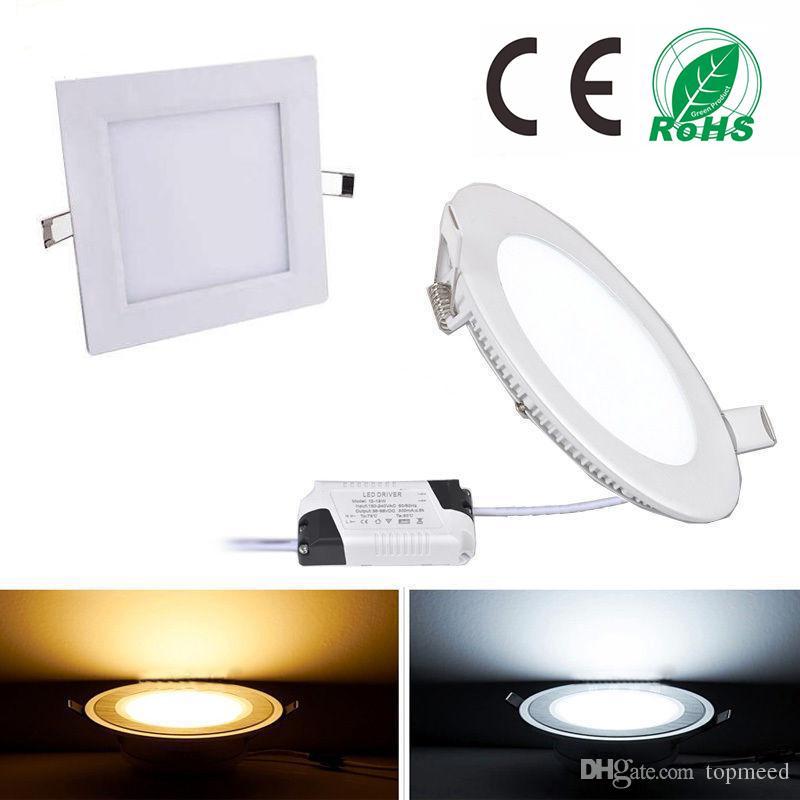 DIMMABLE LED Panneau léger SMD 2835 9W 12W 15W 18W 21W 2200LM 110-240V LED plafonniers de plafonniers de lumière de lumière de la lampe Downlight + pilote