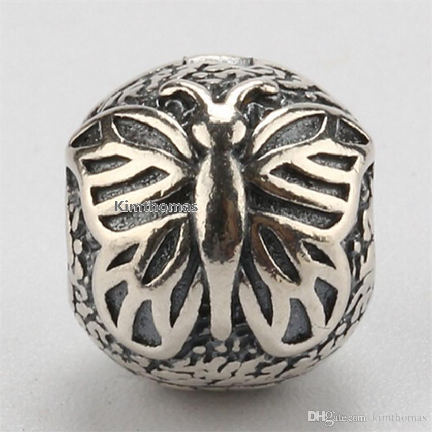 100% 925 Sterling Silver Lacewing Butterfly Clip Charm Bead Fits European Pandora Jewelry Bracelets Necklaces & Pendants