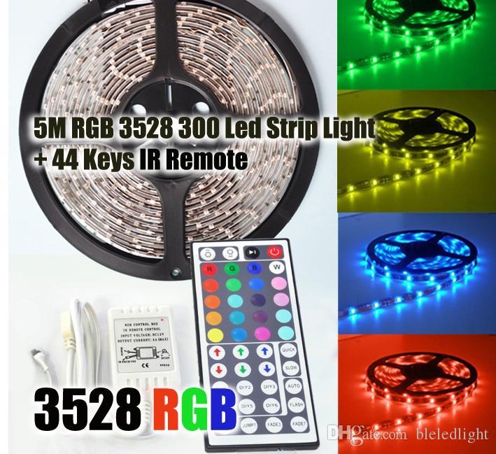 Hot 3528 RGB LED Strip Light 5M 300SMD LED Stripe 44keys SMD IR Remote Controller 5050 LED Stripe RGB