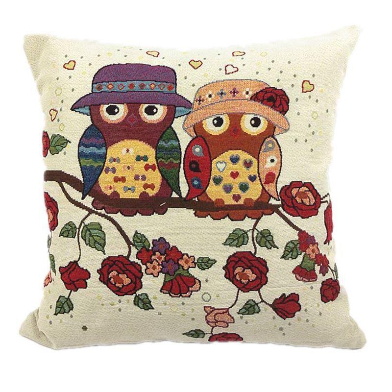 2pcs / lot 올빼미 커플 패턴 코튼 린넨 장식 던지기 베개 커버 Pillowcases 쿠션 카 $ SE 베개 케이스 18x18inch