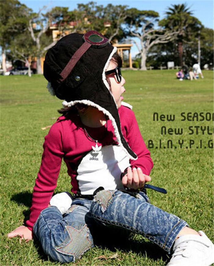 HOT 2 colors children winter pilot hat Cute Baby for Boy Girl Kids Pilot  Aviator Cap Warm Hats Earflap Beanie Melee D456 20d4c7b29c3c
