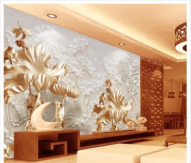 3d wallpaper European minimalist bedroom living room TV backdrop Lotus carvings 3D stripes abstract mural wallpaper 20157359