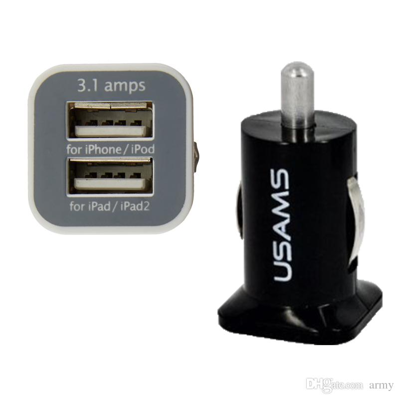 100 unids USAMS 3.1A Dual USB Car 2 Port Charger 5V 3100mah doble enchufe cargador de coche Adaptador para HTC