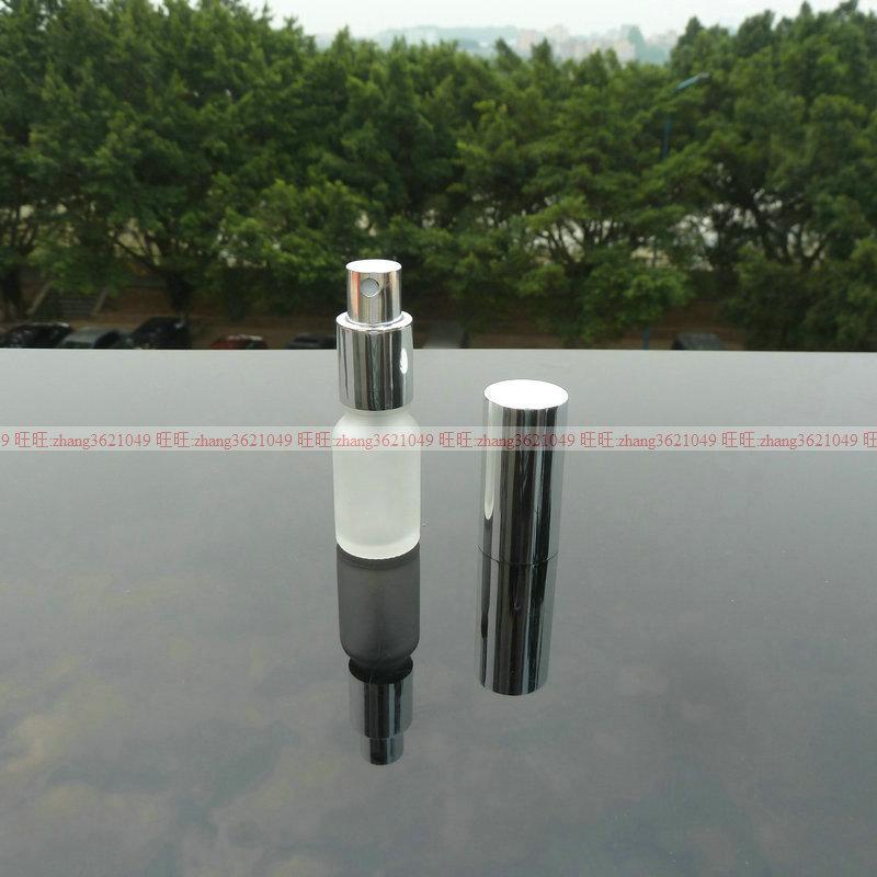 10ml 명확한 서리로 덥은 유리 향수 병 알루미늄 반짝이 실버 안개 분무기. 향수 분무기 병 용기
