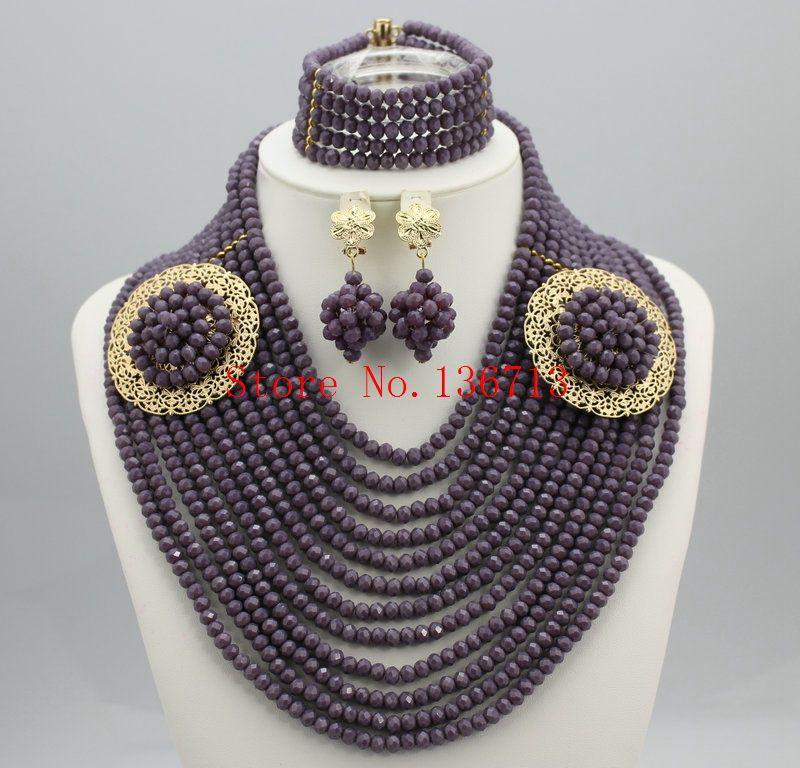 Splendid afrikanische Schmucksachen 18K afrikanische Kristall-Perlen Schmuck-Set für Hochzeit Opulente Halskette Schmuck SD123-2