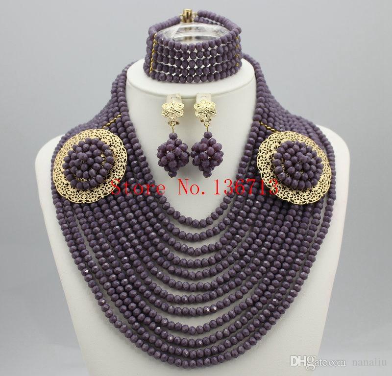 Splendide Africain Ensembles de Bijoux 18 K Africain Cristal Perles Ensemble de bijoux pour le mariage Déclaration Collier Bijoux SD123-2