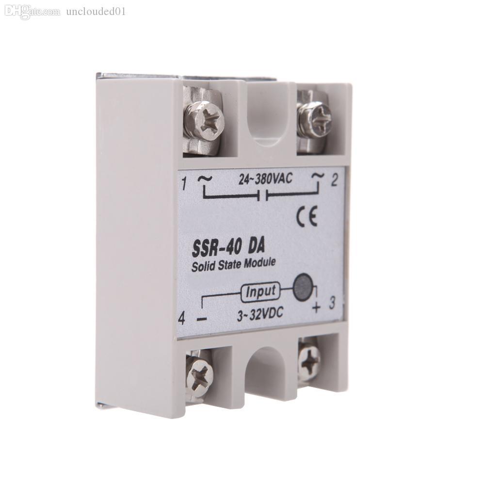 Wholesale-New Zubehör 24V-380V 40A SSR-40 DA Halbleiterrelais-Modul für PID-Temperaturregler 3-32V DC zu AC Relais