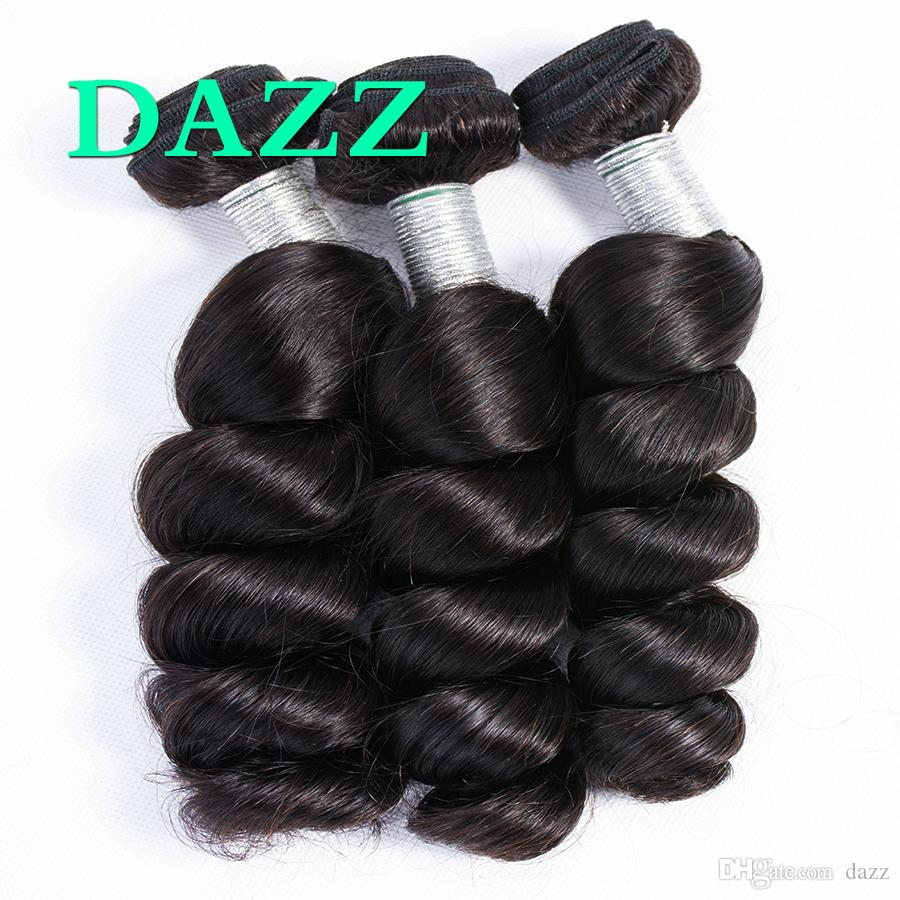 DAZZ Loose Wave Brazilian Virgin Hair 3 Bundles Natural Color Remy Human Hair Bundles Weave Human Hair Extensions Spiral Curly Wavy Wefts