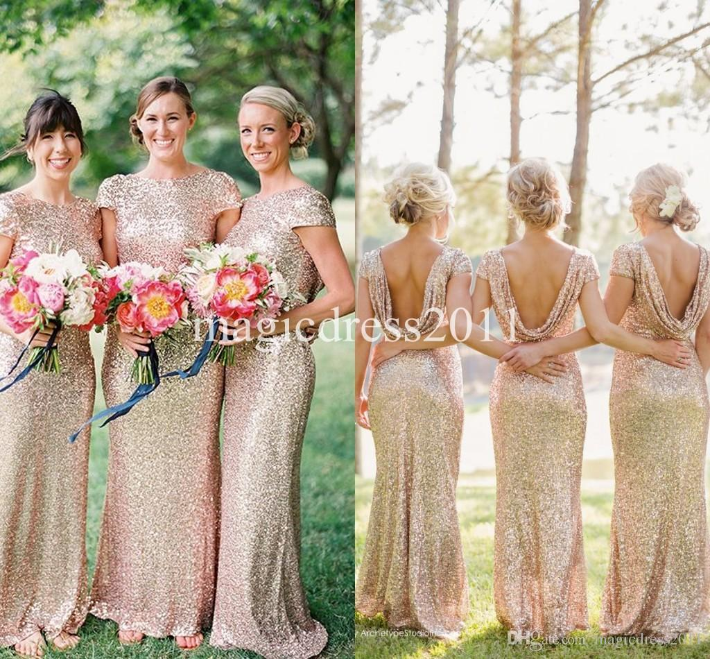 2019 Gold Sequin Bridesmaid Dress Long Rose Gold Maid Of Honor Dresses Mermaid Crew Short Sleeve Sparkly Formal Pageant Gowns Cheap For Sale Ivory
