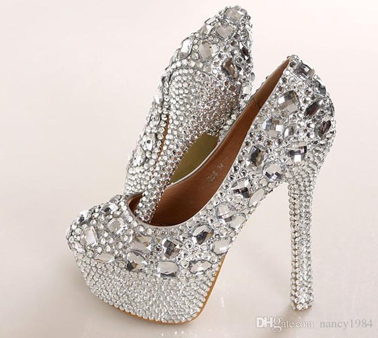 Muhteşem Moda Gümüş Nedime Yüksek Topuklu Kristal Gelin Düğün Ayakkabıları Lady Glitter Gelin Elbise Ayakkabı Parti Balo Ayakkabı