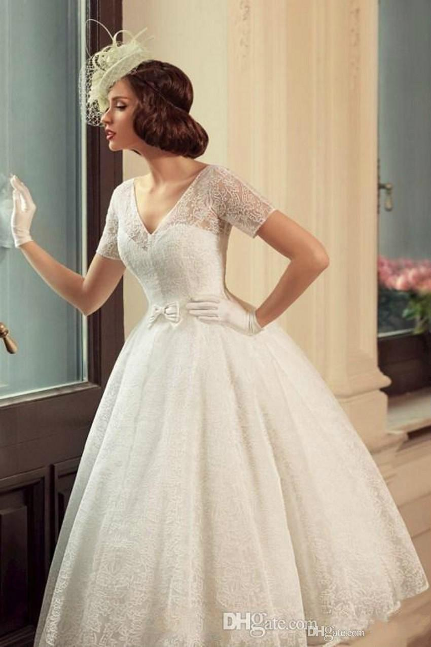 Vintage Tea Length Wedding Dresses 2015 V Neck Illusion Short Sleeves Ball Gown Bridal Dress Soft France Lace Wedding Gowns with Bow 2015