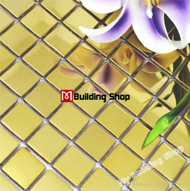 Złota Metalowa Mozaika Płytka Backsplash SMMT039 Kwadratowa Stal Nierdzewna Metalowe Płytki ścienne Mozaika Darmowa Wysyłka