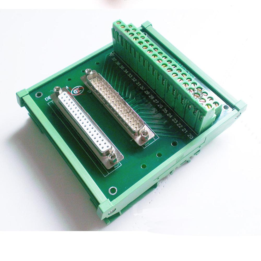 DB37 Male Female D Sub Connectors terminal block breakout board DIN Rail Type