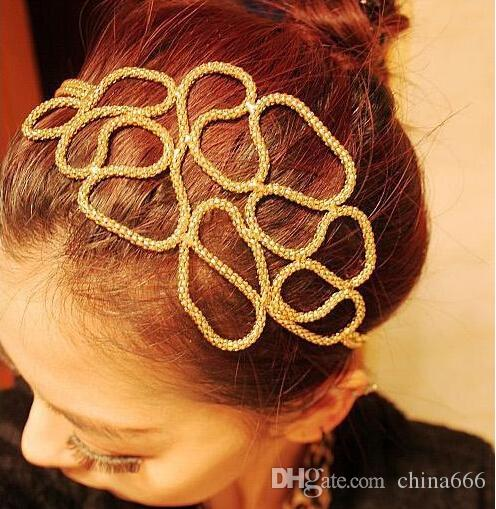 Big discount Free Shipping Women Hollow Out Braided Gold Head Band Stretch Hair Accessories Gossip Girl In Stock