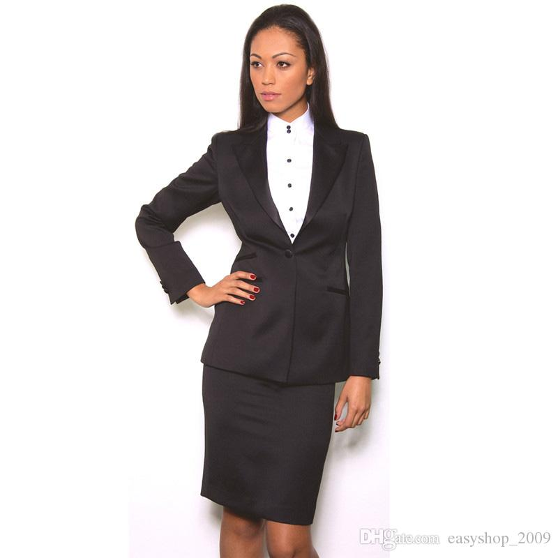 9108b8ebcf Black Skirt Suits Elegant Formal Work Wear 2 Piece Set Womens Business Suits  Blazer Female Office Uniform One Button Custom Made