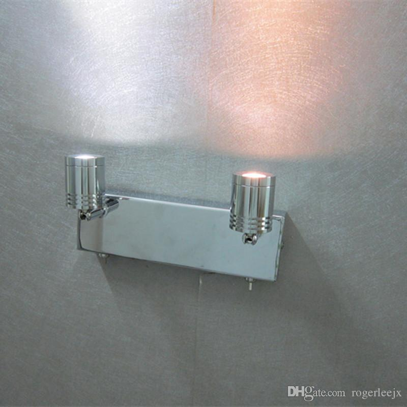 Topoch ligero de la pared sobre la cama con Twin Interruptores cromado 2x3Watt LED independientes que trabajan ajustable cabeza estrecha de la viga para la lectura