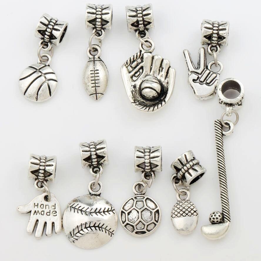 100pcs/lot Sports Ball Charm Metal Big Hole Beads Antique Silver 9Styles Fit European Charm Bracelets Jewelry DIY