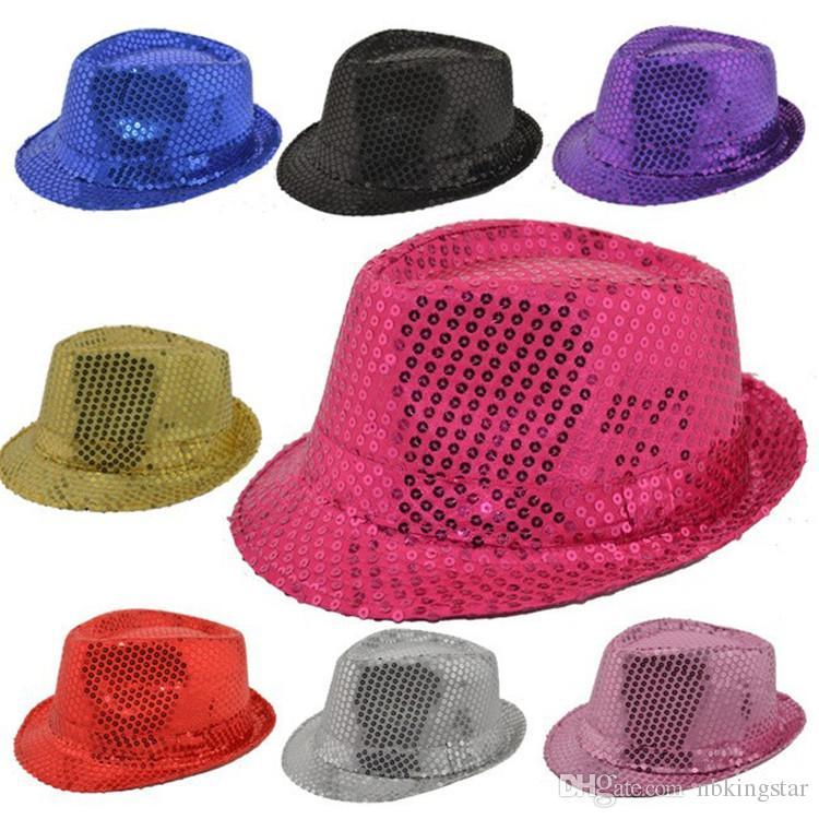 12 Teile / los Kinder Bling Bling Jazz Kappe Kinder Jungen Mädchen Bühnenshow Hut Erwachsene Panama Jazz Caps Fascinator Party Kostüm Pailletten Fedora Hut